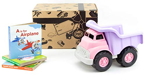 Green Toys Dump Truck, Pink & Board Book Set, 3-Pack - Pretend Play, Motor Skills, Reading, Kids Toy Vehicle. No BPA, phthalates, PVC. Dishwasher Safe, Recycled Plastic, Made in USA.