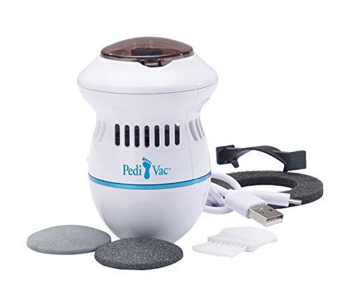 Mediashop PediVac 2 Stück | elektrischer Hornhautentferner | wiederaufladbar | Hornhauthobel | Hornhautraspel | Fußpflege | Pediküre | 2 Aufsätze [grob & fein] | Das Original von Mediashop