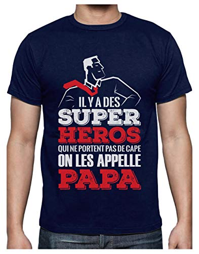 Green Turtle T-Shirts Super Papa Mon Hero Cadeau pour Papa Fete des Peres T-Shirt Homme XX-Large Marine