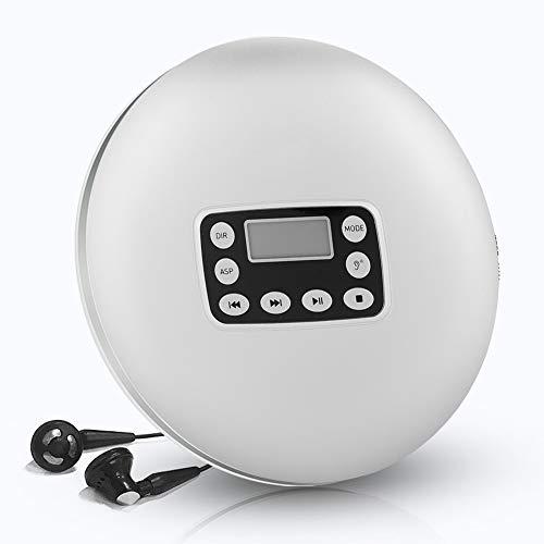 Reproductor de CD portátil, mini reproductor de música MP3 estéreo de 1000 mAh con ASP a prueba de golpes, sonido y auriculares con protección auditiva por defecto de arranque, formatos compatibles co