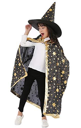 YULOONG Halloween Umhang Kinder Performance Kostüm Kleine Hexe Magier Cosplay Star Umhang Hut Set Für Kinder Jungen Mädchen