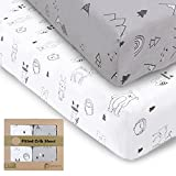 Jersey Fitted Crib Sheets for Boys and Girls - 2-Pack Soft & Breathable Cotton Crib Sheets Neutral - Fits Standard Nursery Crib Mattresses - Toddler Bed Sheets - Crib Mattress Sheet (Woodland)