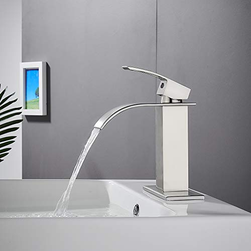 Waterfall Spout Single Handle Bathroom Faucet Brushed Nickel Commercial Modern Lavatory Tap with Pop-up Drain