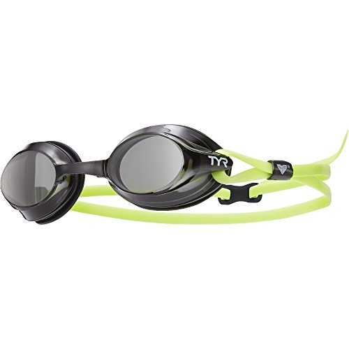 TYR Velocity Goggles, Smoke Black Fluorescent Yellow, One Size