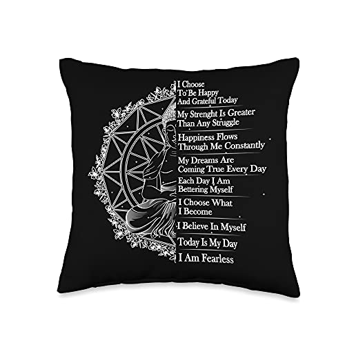 Positive Message & Affirmations Clothing & Apparel Positive Affirmation Mantra Buddha Throw Pillow, 16x16, Multicolor