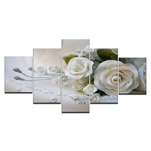 RKSZD 5 schilderijen 5 Stuk Muur Kunst Beeld Op Doek Gedrukt Schilderij Moderne Modulaire Foto Veel Bloemen Witte Roos