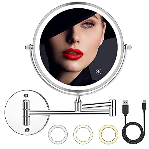 2000mAh Rechargeable Wall Mounted Makeup Mirror with Light 8inch 1X/10X Magnifying Lighted Makeup Mirror 3 Color Mode,Adjustable Light,Touch Screen,Charge by USB,Extendable for Bathroom Hotels