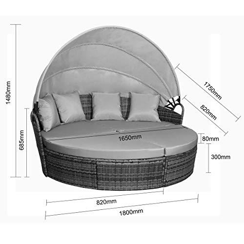 SVITA Savannah Sonneninsel mit Dach Polyrattan-Lounge Gartenmuschel Rattanmöbel Gartenliege Schwarz - 6