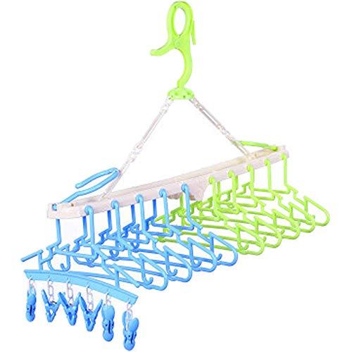 赤ちゃん10連ハンガー キッズ ベビー ハンガーラック 洗濯 折り畳み 取り外し(グリーン&ブルー)