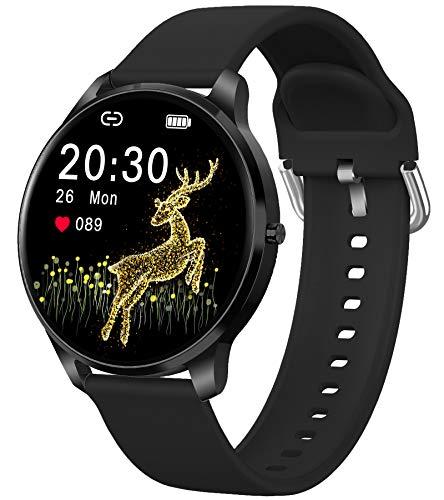 Smartwatch Damen Herren Sportuhr Fitness Armbanduhr Pulsuhren Uhr mit Blutdruckmessung Schrittzähler Schlafmonitor Stoppuhr Touchscreen Smart Watch