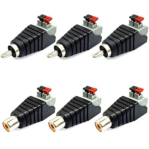Greluma 6 Piezas Adaptador de Cable RCA a Altavoz Subwoofer Altavoz Phono RCA Macho/Hembra a AV 2 Terminal de Tornillo Video Audio Tipo de Presión de Resorte Balun para CCTV