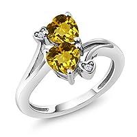 Gem Stone King 1.43カラット 天然 シトリン 指輪 リング レディース 10金 ホワイトゴールド(K10)