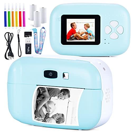 Appareil Photo Instantané pour Enfants, Caméra Jouet Numérique 1080P HD Rechargeable et Longe Anti-Chute, 3 Rouleaux de Papier à Imprimer, 5 Couleurs Cadeau Stylo Pinceau, Carte TF 32 Go