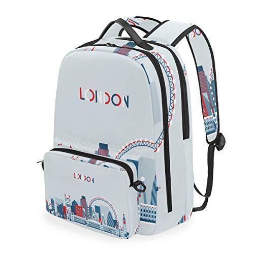 Mochila de Estilo Retro con símbolos de Londres, Desmontable, para Estudiante, Escuela, Viajes, Senderismo, Camping, portátil, Mochila