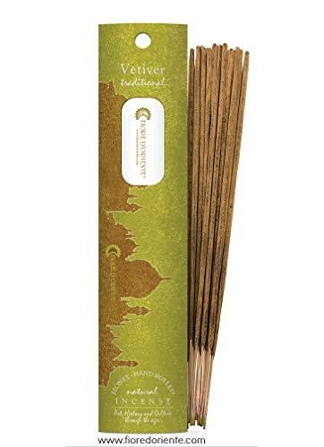 Vetiver Lot de 10 bâtonnets d'encens traditionnel – 100 % naturel – Parfum fleur d'orient - 20 g