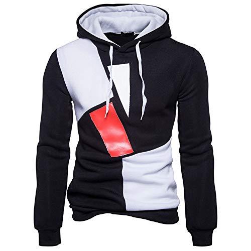 Herren Frühling Herbst Casual Sport Laufen Warm Und Bequem Langarm Hoodie T-Shirt Gr. Small, Schwarz