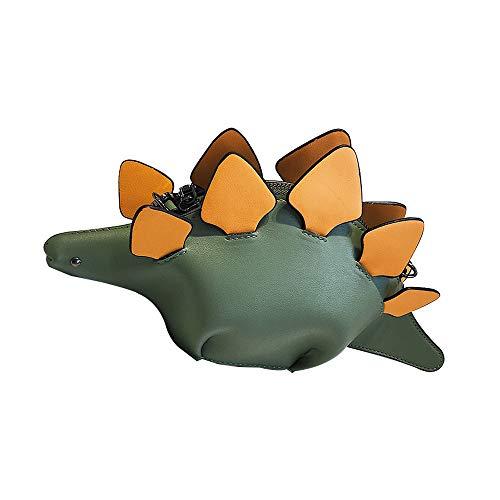 Sipobuy Bolso Bandolera con Forma De Dinosaurio En 3D, Bolso Bandolera para Niñas Adolescentes, Bolso Bandolera De Cuero PU De Animal Lindo único, Correa Ajustable (Green)