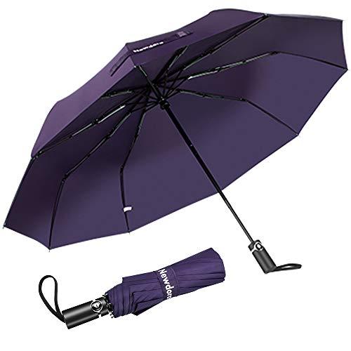 Newdora Regenschirm Taschenschirm Windproof sturmfest Auf-Zu Automatik 210T Nylon Umbrella wasserabweisend klein leicht kompakt 10 Ribs Reise Golfschirm mit Trockenbeutel(Lila)