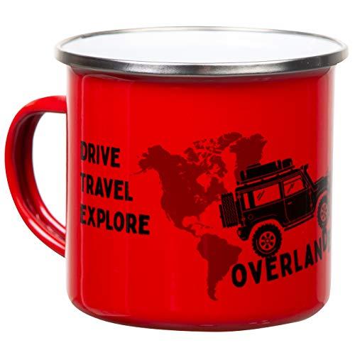 Overlander | Retro Emaille Becher in rot | mit coolem Offroad Motiv mit Dachzelt und Weltkarte | leicht und bruchsicher, für Camping, Vanlife und Globetrotter | von MUGSY.de