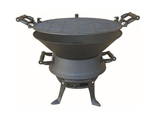 LIVIVO FiNeWaY@ FIREPIT BBQ FIRE BASKET OUTDOOR BARBEQUE GRILL CHARCOAL CAST IRON BARBECUE STAND