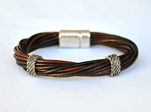 Pulsera hombre cuero marrón y negro con cierre magnético, joyas para él, regalos de cumpleaños