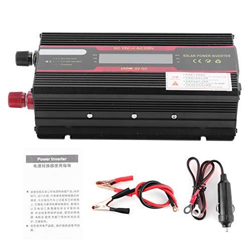 Inversor Solar para coche, DC 12V a AC 220V Convertidor de onda sinusoidal modificada Inversor de pantalla LCD 4000W Accesorio para coche
