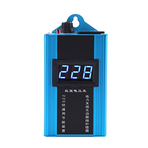 80KW 110V-220V Electricity Saving Box Power Energy Saver Smart Energy Power Saver Saving Device for Household Office Market Factory Digital LCD Display(Blue)