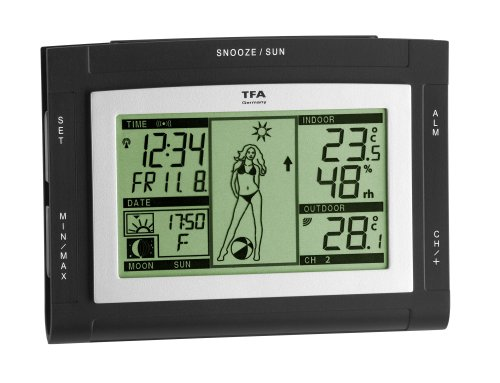 TFA 35.1064 Weather XS elektronische weerstation, grijs Weergirl zwart
