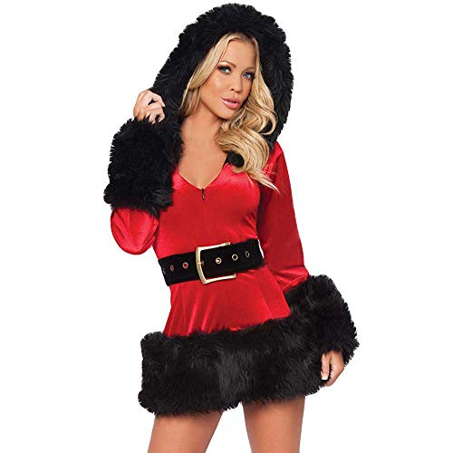 MIYAA Damen Dessous,Kapuze Plüsch Dessous Babydoll Spitze Tanga Nachtwäsche Frau Sexy Weihnachten T-Shirt Kleid Santa Outfit Miss Claus Kostüme Party Kostüm Kostüm Deluxe Samt Kostüm,Rot,S.