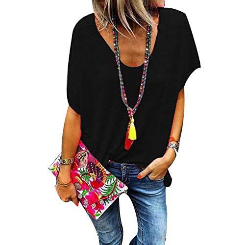 Plus Size Candy Color V-Ausschnitt Kurzarm T-Shirt Sommer T-Shirt Frauen Loose Top