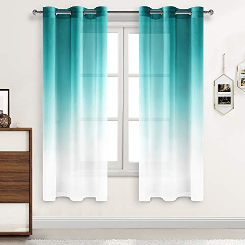 DWCN Teal Ombre Sheer Curtains - Faux Linen Gradient Drapes Semi Voile Bedroom and Living Room Curtains, Set of 2 Grommet Top Window Curtain Panels, 42 x 63 Inch Length