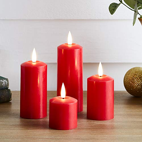 Lights4fun Set of 4 TruGlow Battery LED Flameless Skinny Pillar Candles with Timer Real Red Wax