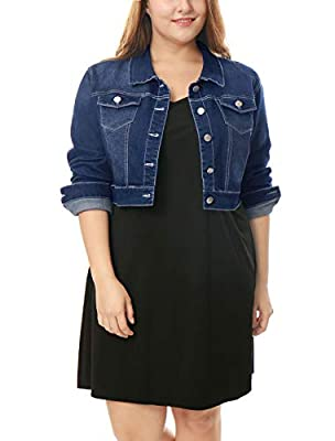 uxcell Women's Plus Size Button Closed Cropped Denim Jacket Dark Blue 3X by uxcell