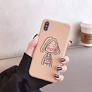 Rhine Cartoon Korean Girl Candy Color Mobile Phone Case for iPhone 7 8 Plus XR XS MAX X XS Soft TPU Silicone Coque Fundas (Design 2, for iPhone XR)