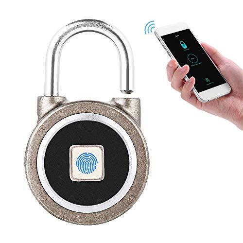 Smart Fingerprint Keyless Waterproof Lock App Control de Seguridad Candado Antirrobo 15 Juegos de Huellas Digitales Impermeable a Prueba de Violaciones Tamper para Android Sistema iOS