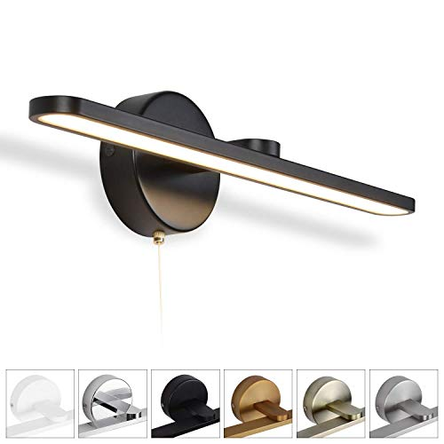 MantoLite wandlamp, moderne badkamerlamp, nachtkastje, leeslamp, spiegellamp, verlichting, artwork, verlichting, bevestiging, met ritsschakelaar, aluminium, IP44, 11 W, 40 cm, 3000 K (mat nikkel)