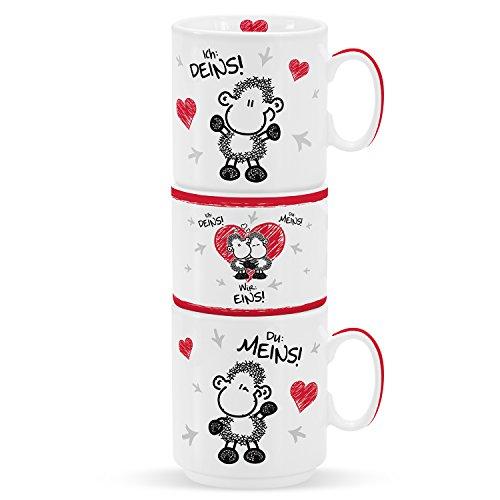 Sheepworld 45185 Stapeltassen-Set mit Spruch Ich Deins, Du Meins, Wir Eins, Geschenkset aus 2 Prozellantassen und 1 Kerzenhalter inkl. Teelicht, mit Liebesmotiv
