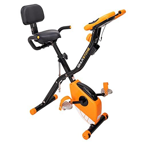 GEARSTONE Bicicleta Estática Plegable D3, Bicicleta de Fitness con 8 Niveles de Resistencia Magnética y Pantalla LCD, Bicicleta Estática Plegable para Uso Doméstico