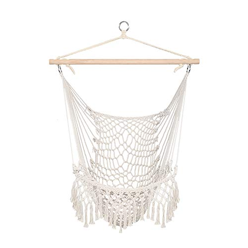 HOMU Hammock Chair Macrame Swing, Super Large Hanging Chair, Soft-Spun Cotton Rope Weaving Chair, Comfortable, Lightweight, Indoor Outdoor Garden Yard Theme Decoration