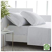 COTTON ARTean Juego de sábanas Bambú ORGÁNICO e HIPOALERGÉNICO Cama de 180 x 190/200. Color Blanco. Eco Friendly