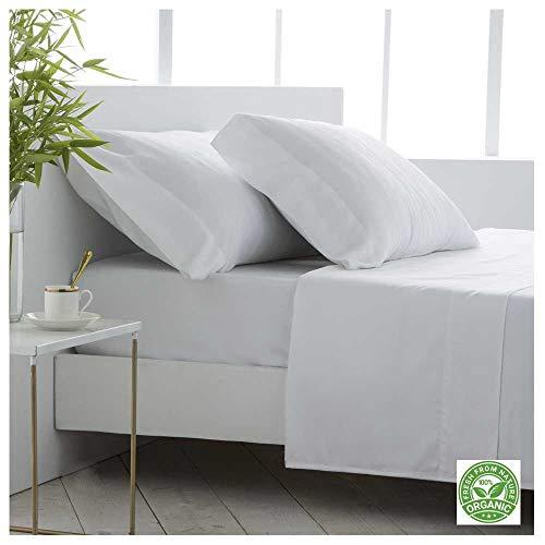 COTTON ARTean Juego de sábanas Bambú ORGÁNICO e HIPOALERGÉNICO Cama de 150 x 190/200. Color Blanco. Eco Friendly