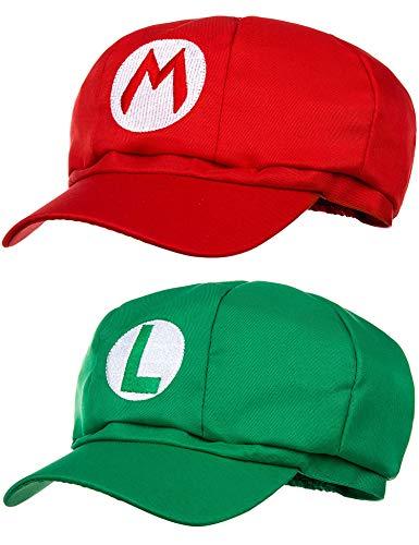 Balinco Doppelpack Mario Mütze + Luigi Mütze für Erwachsene Karneval Fasching Verkleidung Kostüm Mützen Hut Cap Herren Damen Kappe