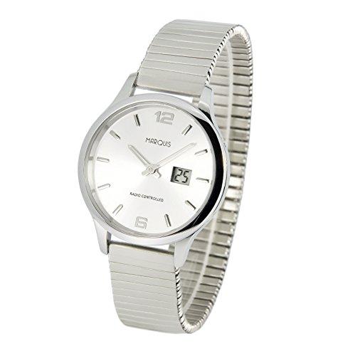 Elegante MARQUIS Damen Funkuhr (Junghans-Uhrwerk) Gehäuse und Armband aus Edelstahl 964.4904