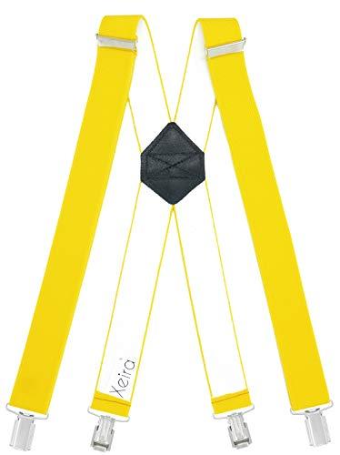 Xeira Bretelle X-shape uomo e donna con 4 clip forti e retro in vera pelle - Fatto in Germania (XL - 125cm, giallo)