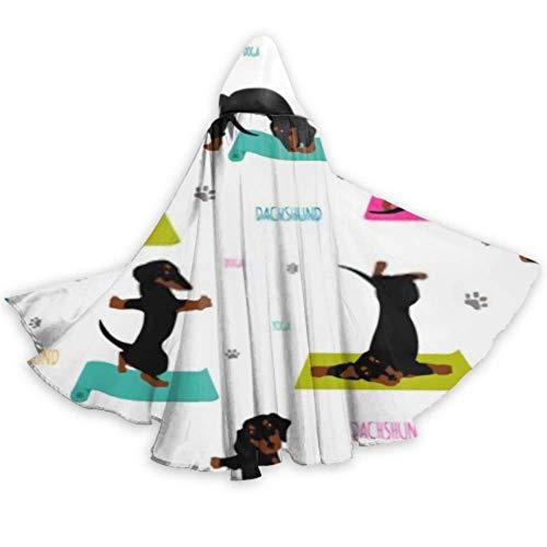 XHYYY - Capa con capucha unisex para Halloween, con capucha, diseño de perros y yoga, con capucha, para adultos, para Halloween, Navidad, disfraz de Halloween