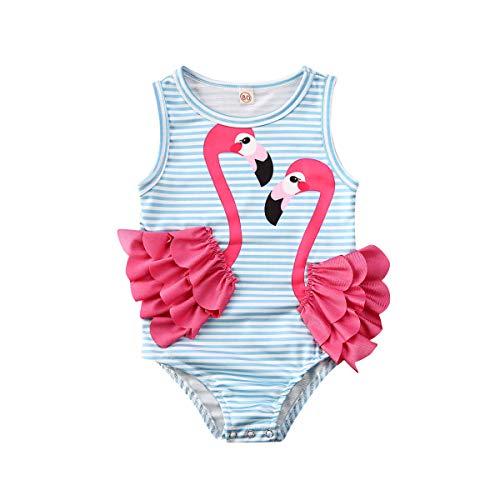 Traje de Baño de Una Sola Pieza Verano para Niñas Bebés Estampado a Rayas Adorno Flamenco Ropa de Natación Sin Mangas para pequeñas (Blue, 1-2t)