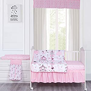 MP+NJ Printed Princess Crib Bedding Set for Girls – 100% Brushed Polyester 6 Piece Toddler Nursery Set – Quilt, Fitted Sheet, Bed Skirt, Diaper Stacker, Changed Pad Cover and Valance