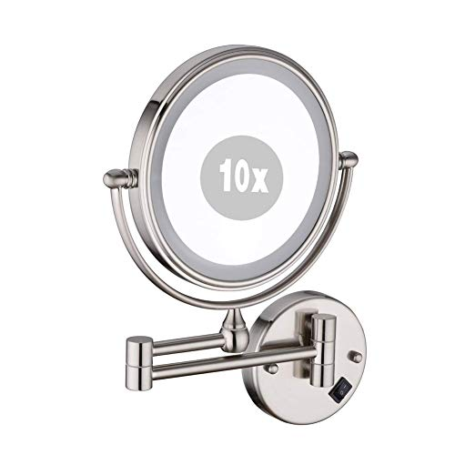XNDCYX 8 Inch 10X Magnification Wall Mounted Mirror, LED Lighted Wall Mount -