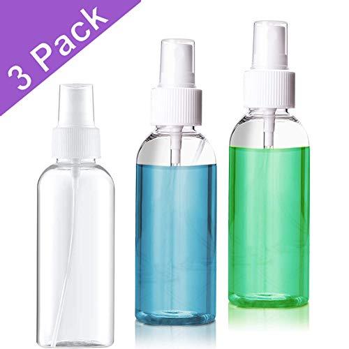 Huddu 3 Pezzi Bottiglia Spray 50 ml Plastica Vuota Atomizzatore Da Viaggio da Toeletta Liquid Ricaricabile 1.69 Oz Bottiglie Di Nebbia Trasparenti Bomboletta Travel Contenitori per Cosmetici Make-up