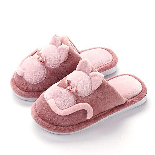 Y-PLAND Zapatillas para Padres e Hijos de Gatos de Dibujos Animados, Zapatillas de Felpa de Invierno para niños, Zapatillas de algodón para el hogar-Rojo_EU27-28